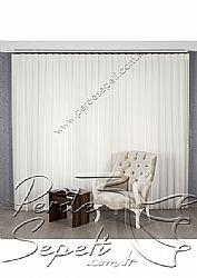 İkili Perde (Ön Simli Füme-Gri Otantik Gül Desenli Etek Dilimli Stella Tül-ArkaKırık Beyaz Neo Classic Serisi) - 3
