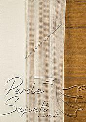 İkili Perde (Ön Simli Füme-Gri Otantik Gül Desenli Etek Dilimli Stella Tül-ArkaKırık Beyaz Neo Classic Serisi) - 4
