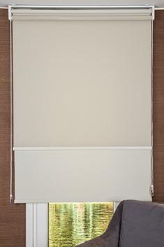 Promosyonel 120x200 - İkili Perde (Ön Koyu Krem Tül Stor Perde Arka Açık Kum Beji Neo Classic Stor Perde) KOD:218.