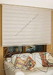 Açık Kahverengi Beyaz Çizgili Dar Pileli Ekonomik Zebra Perde - 5