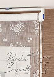 Ekru Çiçek Desenli Dantella Stor Perde - 4