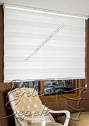 Beyaz Sahra Pileli Zebra Perde - 5