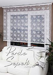 Beyaz Çiçek Desenli Dantella Stor Perde - 3