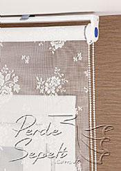 Beyaz Çiçek Desenli Dantella Stor Perde - 4