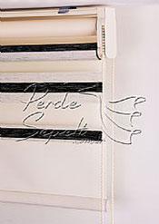 İkili Perde (Ön Ekru-Siyah Bamboo Star Zebra Perde-Arka Ekru Stor) - 6