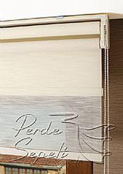 İkili Perde( Ön Çizgili Krem Estela Arka Koyu Krem Neo Classic  Stor) - 6