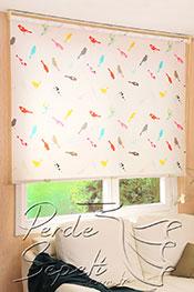 İkili Perde(Ön Beyaz Çiçek Desenli Dantella Stor Perde Arka Renkli Kuşlar Baskılı Klasik Stor Perde)