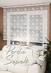 İkili Perde(Ön Beyaz Çiçek Desenli Dantella Stor Perde Arka Toz Pembe Neo Classic Stor Perde) - 2