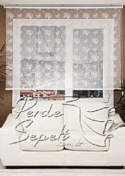 İkili Perde(Ön Beyaz Çiçek Desenli Dantella Stor Perde Arka Toz Pembe Neo Classic Stor Perde) - 4