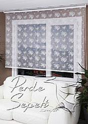 İkili Perde(Ön Beyaz Çiçek Desenli Dantella Stor Perde Arka Toz Pembe Neo Classic Stor Perde) - 6