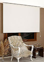 İkili Perde(Ön Ekru Otantik Desenli Dantella Stor Perde Arka Kırık Beyaz Linen Stor Perde) - 7