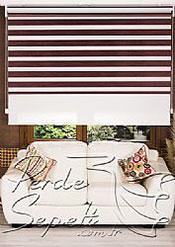 İkili Perde(Ön Funda Bamboo Zebra Perde Arka Beyaz Neo Classic Stor Perde) - 3