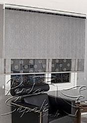 İkili Perde(Ön Gri Top Desenli Siyah Deluxe Dantella Arka Beyaz Basic Stor Perde) - 4