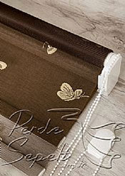 İkili Perde(Ön Krem Kelebek Desenli Acı Kahve Deluxe Dantella Arka Acı Kahve Transparan Güneşlik Stor Perde) - 6