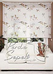 İkili Perde(Ön Kuşlar Design Stor Arka Kırık Beyaz Blackout Stor Perde) - 4