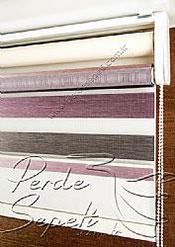 İkili Perde (Ön 3 Renkli Organze 2 Colourful Zebra Perde Arka Krem Basic Stor Perde) - 6
