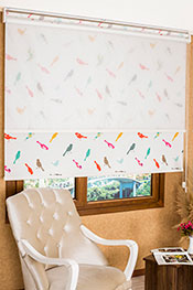 İkili Perde (Ön Beyaz Halka Desenli Estela Stor Arka Renkli Kuşlar Baskılı Klasik Stor)