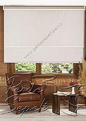 İkili Perde (Ön Beyaz Halka Desenli Estela Stor Arka Sütlü Kahve Pearl Stor) - 3