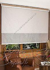 İkili Perde (Ön Beyaz Halka Desenli Estela Stor Arka Sütlü Kahve Pearl Stor) - 5