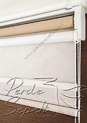 İkili Perde (Ön Beyaz Halka Desenli Estela Stor Arka Sütlü Kahve Pearl Stor) - 6
