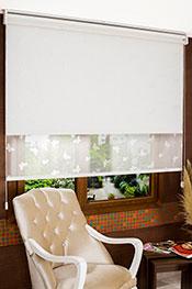 İkili Perde (Ön Beyaz Kelebek Desenli Deluxe Dantella Serisi Stor Arka Beyaz Simli Neo Classic Serisi Stor)