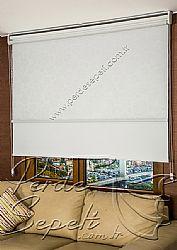 İkili Perde (Ön Beyaz Kır Çiçekleri Desenli Pizzo Stor Perde Arka Beyaz Neo Classic Stor Perde) - 1