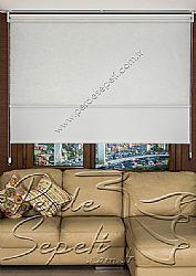 İkili Perde (Ön Beyaz Kır Çiçekleri Desenli Pizzo Stor Perde Arka Beyaz Neo Classic Stor Perde) - 2