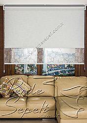 İkili Perde (Ön Beyaz Kır Çiçekleri Desenli Pizzo Stor Perde Arka Beyaz Neo Classic Stor Perde) - 3