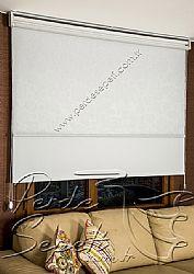 İkili Perde (Ön Beyaz Kır Çiçekleri Desenli Pizzo Stor Perde Arka Beyaz Neo Classic Stor Perde) - 4