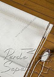 İkili Perde (Ön Beyaz Kır Çiçekleri Desenli Pizzo Stor Perde Arka Beyaz Neo Classic Stor Perde) - 6