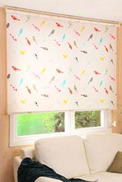 İkili Perde (Ön Beyaz Tül Stor Perde Arka Renkli Kuşlar Baskılı Klasik Stor Perde)