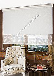 İkili Perde (Ön Beyaz Yaprak Desenli Dantella Serisi Stor  Arka Beyaz Galaxy Star Stor) - 1