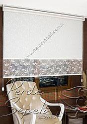 İkili Perde (Ön Beyaz Yaprak Desenli Dantella Serisi Stor  Arka Beyaz Galaxy Star Stor) - 4