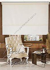 İkili Perde (Ön Ekru Halka Desenli Estela Stor Arka Beyaz Simli Neo Classic Stor) - 3