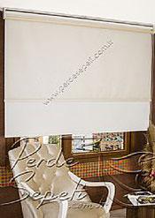 İkili Perde (Ön Ekru Halka Desenli Estela Stor Arka Beyaz Simli Neo Classic Stor) - 4