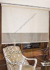 İkili Perde (Ön Ekru Halka Desenli Estela Stor Arka Beyaz Simli Neo Classic Stor) - 5