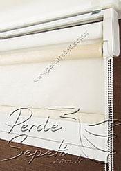 İkili Perde (Ön Ekru Halka Desenli Estela Stor Arka Beyaz Simli Neo Classic Stor) - 6