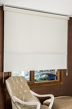 İkili Perde (Ön Ekru Yatay Fitilli Tentene Tül Stor Perde Arka Beyaz Neo Classic Stor Perde)