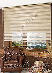 İkili Perde (Ön Kahve Krem Çizgili Bright Line Zebra Arka Sütlü Kahve Simli Neo Classic Serisi Stor) - 2