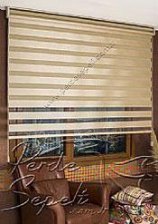 İkili Perde (Ön Kahve Krem Çizgili Bright Line Zebra Arka Sütlü Kahve Simli Neo Classic Serisi Stor) - 5