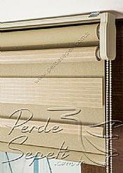 İkili Perde (Ön Kahve Krem Çizgili Bright Line Zebra Arka Sütlü Kahve Simli Neo Classic Serisi Stor) - 6