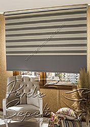 İkili Perde (Ön Krem Panorama Zebra Arka Gri Blackout Stor) - 1