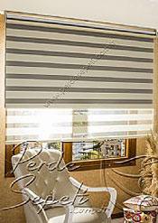 İkili Perde (Ön Krem Panorama Zebra Arka Gri Blackout Stor) - 4