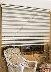 İkili Perde (Ön Krem Panorama Zebra Arka Gri Blackout Stor) - 5