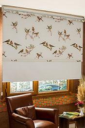 İkili Perde (Ön Kuşlar Design Stor Perde Arka Kırık Beyaz Blackout Stor Perde)