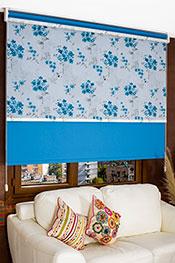 İkili Perde (Ön Mavi Frezya Design Tül Stor Arka Mavi Neo Classic Stor Perde)