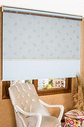 İkili Perde (Ön Mavi Kelebek Desenli Kahverengi Deluxe Dantella Stor Arka Buz Mavisi Neo Classic Stor)