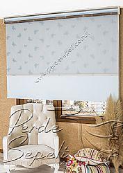 İkili Perde (Ön Mavi Kelebek Desenli Kahverengi Deluxe Dantella Stor Arka Buz Mavisi Neo Classic Stor) - 1