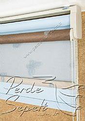 İkili Perde (Ön Mavi Kelebek Desenli Kahverengi Deluxe Dantella Stor Arka Buz Mavisi Neo Classic Stor) - 6