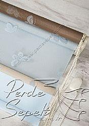 İkili Perde (Ön Mavi Kelebek Desenli Kahverengi Deluxe Dantella Stor Arka Buz Mavisi Neo Classic Stor) - 7